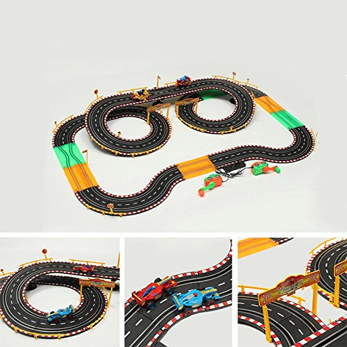 HZ Hand-Dynamo Formula Car Track Toy Double Competitive Toys with Lamp by My Toots