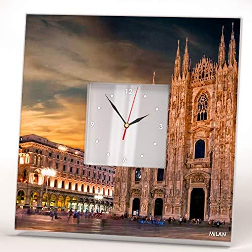 Milan Skyline City Milano Duomo View Italy Wall Clock Framed Mirror Printed Decor Home Design Gift