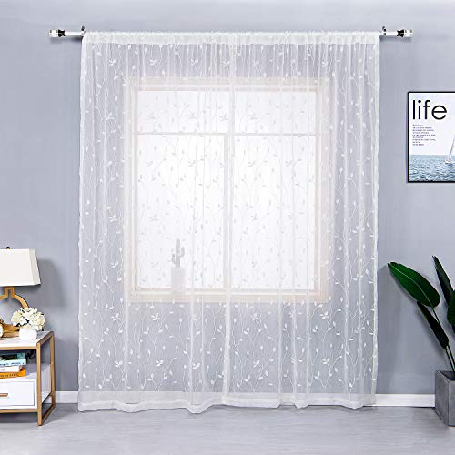 AmHoo Floral Leaf Embroidery Sheer Curtains Rod Pocket Semi Voile Sheer Curtains Set of 2 for Living Bedroom Window Treatment (White, 53 x 84 ()