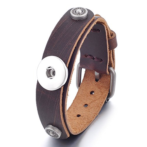 Garden Charms Ginger Snaps Button Genuine Black Brown Leather Bracelet Interchangeable Bangle Fit 18mm GCNN-381 (A)