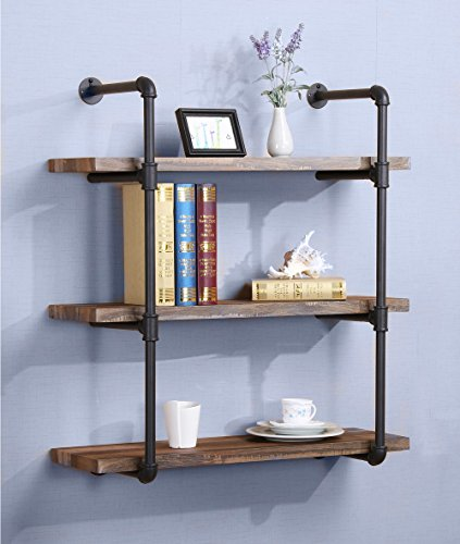 O&K Furniture 3-Tier Industrial Vintage Pipe bookshelf, Rustic Pipe Shelves for Home Kitchen, 31 Inch Length by O&K Furniture