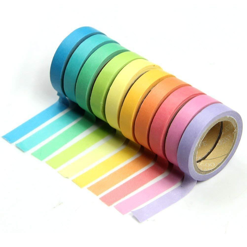 10x Decorative Washi Rainbow Sticky Paper Masking Adhesive Tape Scrapbooking DIY Lyanther