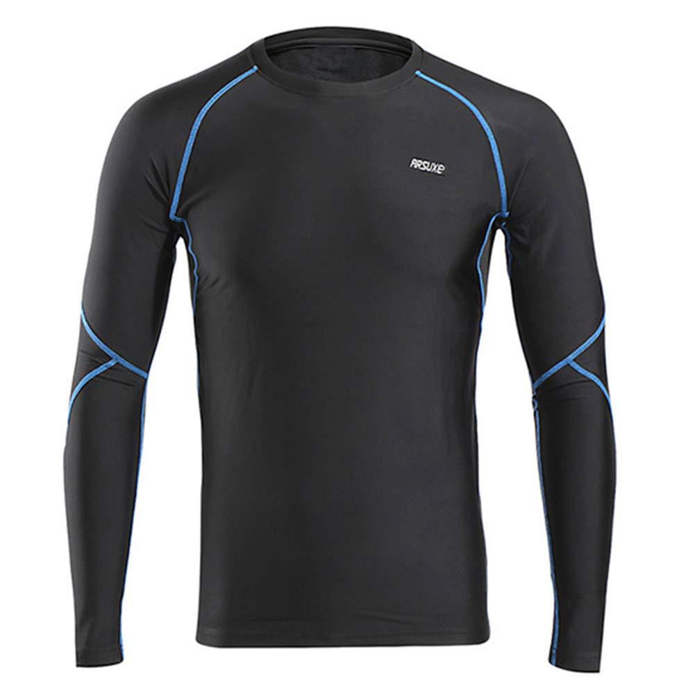 QWERT Mann-Winter-Compression-Shirt Warm Up Fleece Gym Shirts Langarm Sport Trainings-Hemd