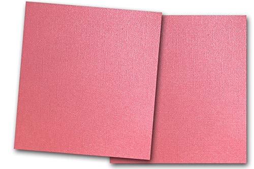 Premium Pearlized Metallic Textured Fruit Punch Pink Card Stock 20 Sheets - Matches Martha Stewart Fruit Punch - Great for Scrapbooking, Crafts, Flat Cards, DIY Projects, Etc. (12 x 12) ()