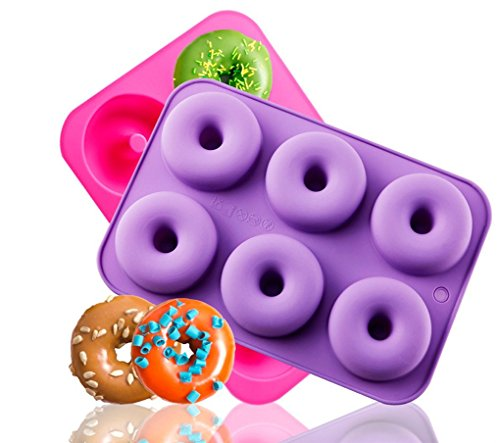Kisweet 2-Pack Donut Baking Pan Non-Stick Donut Molds 6-Cavity Bake Tray by Kisweet