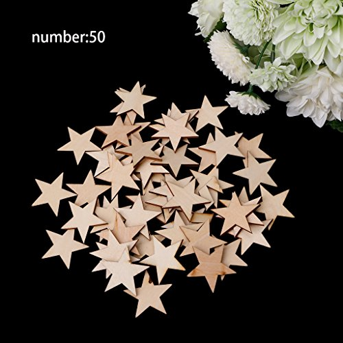 OHTOP 50Pcs Wooden Heart Star Wedding Party Xmas Home Hanging Decor Craft DIY (40mmStar) (Hanging Lantern Jumbo)