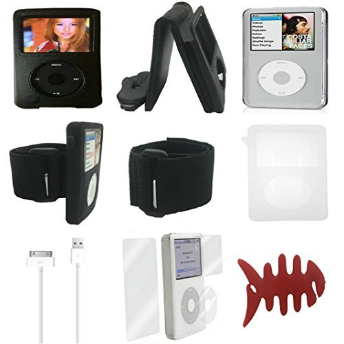 Aiboco 8 Item Accessories kit for iPod Classic Leather Flip Case+ Armband +Silicone Case+ Clear Hard Case+ Charging Cable+ Screen Protector 160GB 120GB 80GB - Apple Video Ipod Accessory 30gb