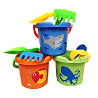 Charmed Kids Beach Sand Toy Buckets pails Set with rakes, and Scoops.