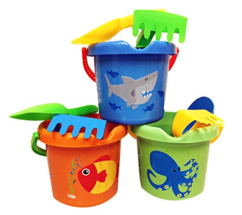 Charmed Kids Beach Sand Toy buckets pails Set With rakes, and scoops. (3 color sea animal) ()
