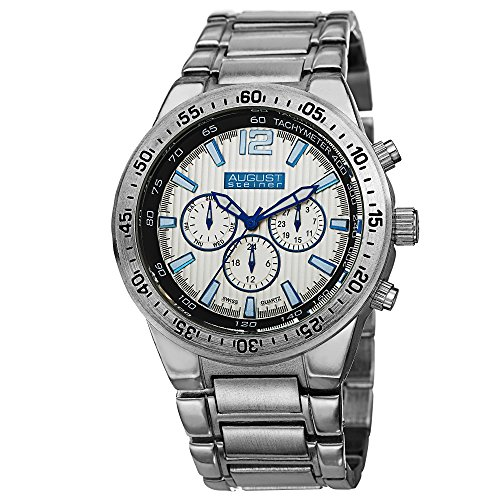 August Steiner Men's AS8128SS Silver Swiss Quartz Watch with Blue Accented Silver Dial and Silver Bracelet