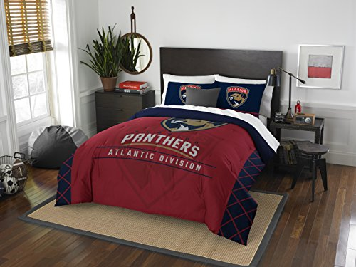 The Northwest Company Officially Licensed NHL Florida Panthers Draft Full/Queen Comforter and 2 Sham Set, Red/Blue]()