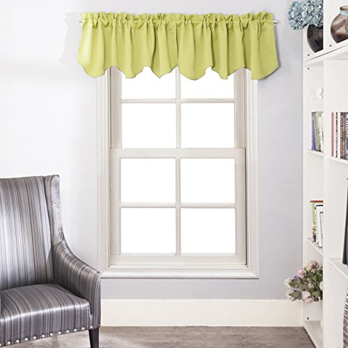 Treatments Window Swags (Aquazolax Scalloped Valances for Kitchen Blackout Curtains Window Treatments Valances, 52inch by 18inch, Greenery, 1 Pair)
