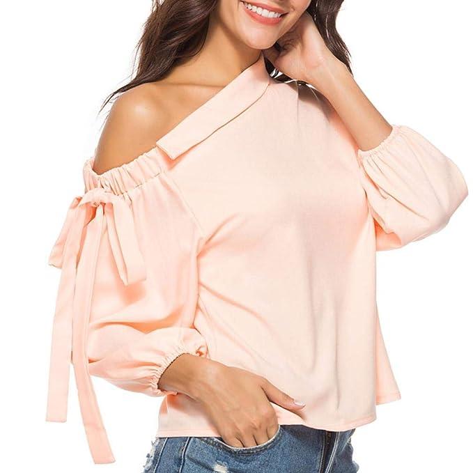 Blusas para Mujer Desigual,Moda Largo Mangas Off Shoulder Diario Casuales Suelto Camiseta Top (