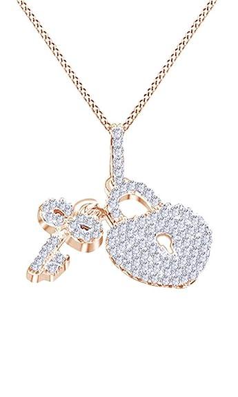 Amazon white natural diamond key small heart lock pendant in white natural diamond key small heart lock pendant in 14k rose gold 034 cttw aloadofball Gallery