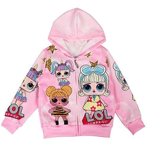 Thombase LOL Dolls Girls Chaquetas Navidad Navidad Sudaderas con Capucha Abrigo Big Dot Cartoon 3-8Years