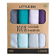 Little Bot Muslin Reversible Bandana Bib. 4 Pack, 100% Cotton.