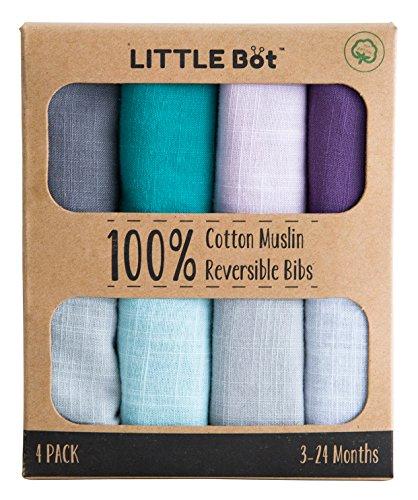 Little Bot Muslin Reversible Bandana Bib. 4 Pack. 100% Cotton. by LITTLE Bot