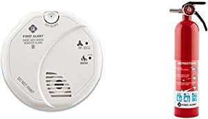 First Alert Smoke Detector and Carbon Monoxide Detector Alarm | Battery Operated, SCO5CN & 1038789 Standard Home Fire Extinguisher, Red