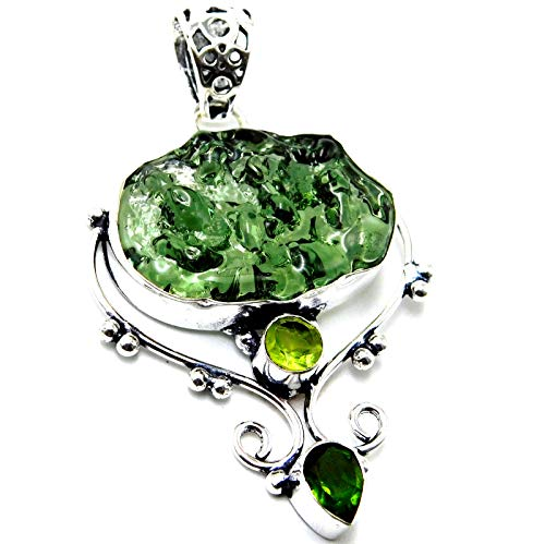 Moldavite Quartz Peridot 925 Sterling Silver Plated Handmade Jewelry Pendant 8 Gm