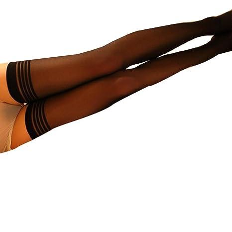 Koly Rodilla Alta Calcetines Pantyhose Lindo raya Medias Encaje Señoras Mujer Muslo Alto Estiramiento Algodón Legging
