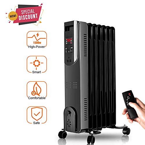 TRUSTECH Oil Heater, Oil-Filled Radiator with Remote Control, Digital Display, Overheat & Tip-Over Protection, 600W/900W/1500W Constant Heating, Comfortable Companion in Cold Weather