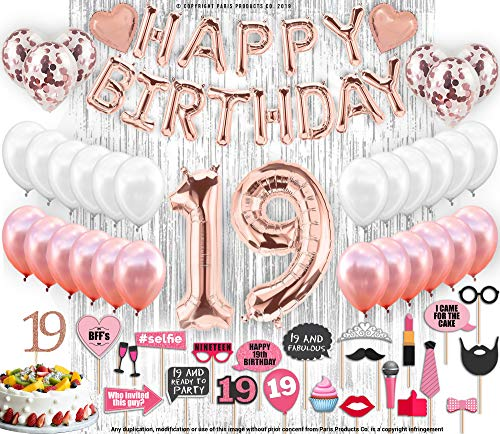 19th Birthday Decorations with Photo Props | 19 Birthday Party Supplies | 19 Cake Topper Rose Gold Banner | Rose Gold Confetti Balloons Gift | Nineteen 19th Bday Biggest Set -