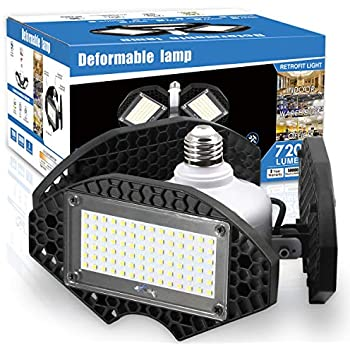 LED Garage Lights, Deformable LED Garage Ceiling Lights 7200 Lumens, CRI 80 Led Shop Lights for Garage, Garage Lights with 3 Adjustable Panels, ...