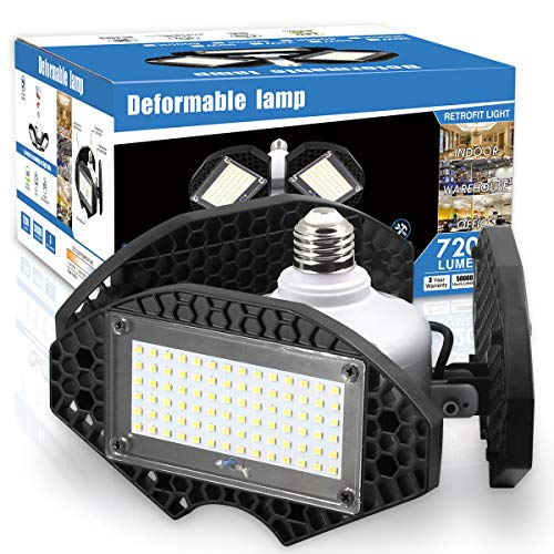 LED Garage Lights,100W Deformable LED Garage Ceiling Lights12500 LM CRI 80 Led Shop Lights for Garage, Garage Lights with 3 Adjustable Panels, Utility Led Garage Lighting (No Motion Activated) -