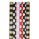 JAM Paper® Assorted Matte Kraft Wrapping Paper - 12.5 Sq Ft Each - Stripes & Polka Dots Colors - 6 Rolls/Pack