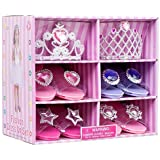 Great Girls Play Set! Princess Dress Up & Play Shoe and Tiara (Includes 4 Pairs of Shoes + 2 Tiaras ) By Blue Green Novelty