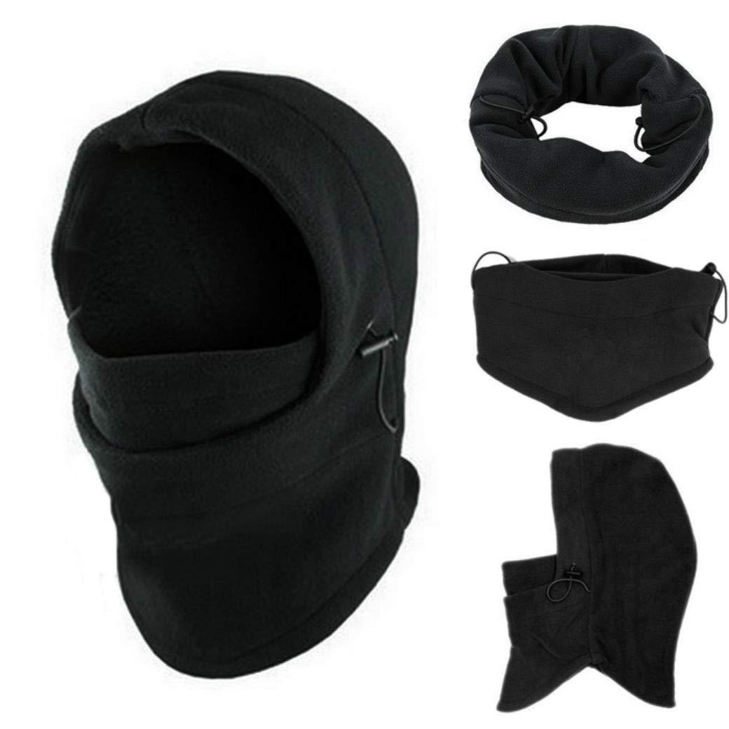 Emerayo Hat for Women Sun Protection, 6 in1 Neck Balaclava Winter Face Hat Fleece Hood Ski Mask Warm Helmet, Men's Hats & Caps, Black Men's Hats & Caps