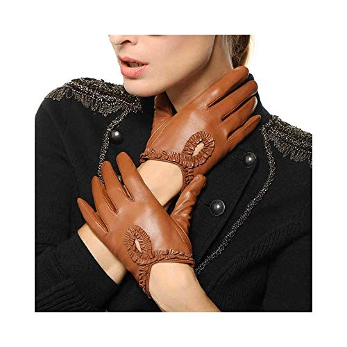 - Protect Soft Leather Leather Gloves for Women Full-Hand Driving Leather Gloves Touchscreen Spring and Summer Thin Lace Sheepskin Leather Gloves Driving Leather Gloves Non-Slip (Color : Beige)