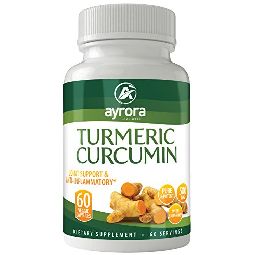 Turmeric Curcumin with Bioperine Joint Pain Relief - Natural Anti-Inflammatory Antioxidant Supplement 60 Capsules with 5mg of Black Pepper Extract for Best Absorption, Benefits for your Body and Brain