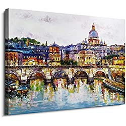 DAXIPRI 3D Hand Painted City Cityscape Modern Abstract Framed Art - St. Peter's Basilica Angels Bridge River Water Reflection Vatican Rome Italy Dusk Night View Oil Painting Artwork Home Decor