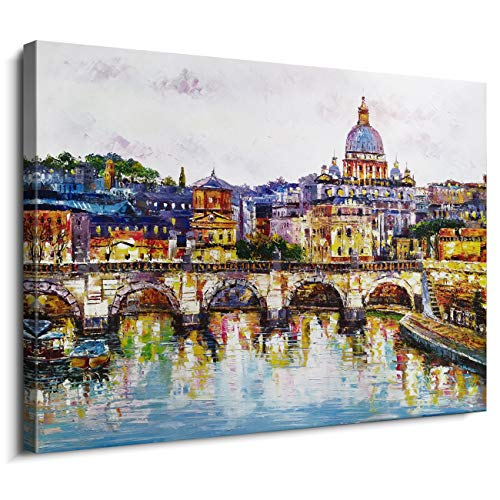 (DAXIPRI 3D Hand Painted City Cityscape Modern Abstract Framed Art - St. Peter's Basilica Angels Bridge River Water Reflection Vatican Rome Italy Dusk Night View Oil Painting Artwork Home)