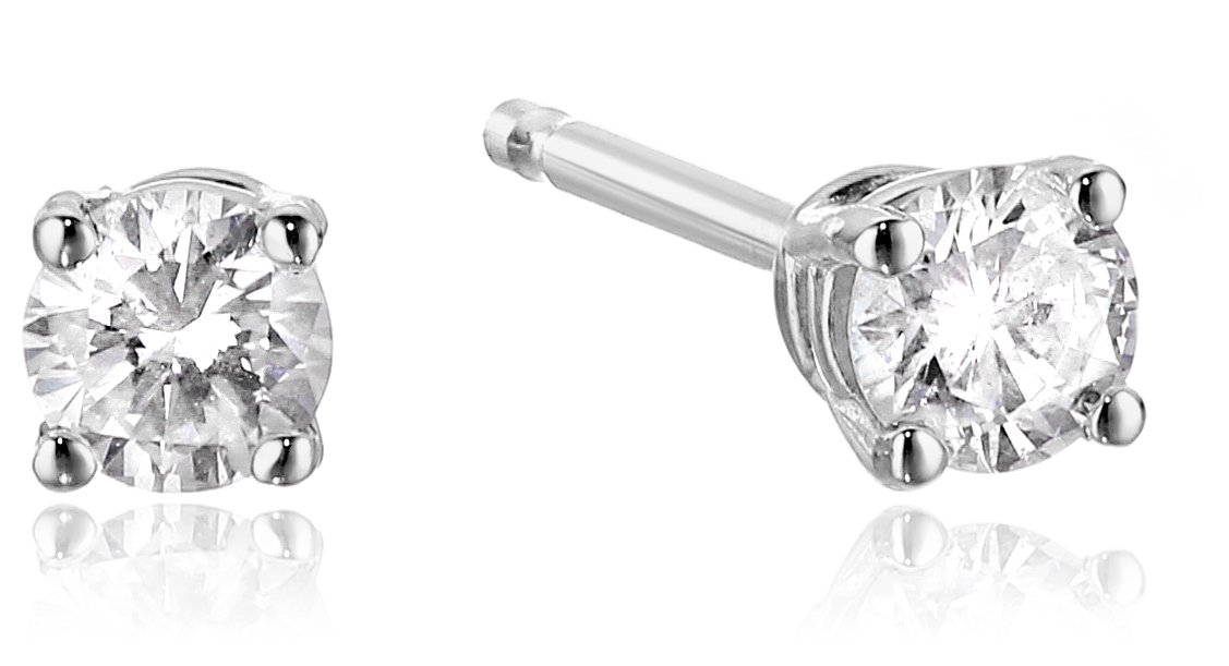 Diamond 14k White Gold Stud Earrings (1/5cttw, I-J Color, I2-I3 Clarity)
