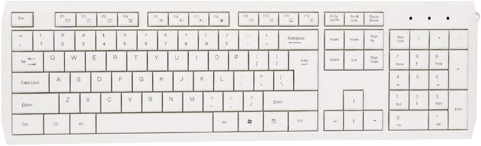 Youyun Low Profile Membrane Keyboard White Super Slim Chocolate Quiet Key USB Wired Multimedia Keyboard for Office Pc Smart Tv,White