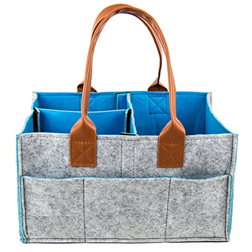 Havenwell Baby Diaper Caddy- Premium Portable Diaper Storage Bag- Nursery Bin for Diapers, Baby Wipes, Toys- Leather Handles- Ideal for Car and Travel- Perfect Baby Shower Gift for Boys and Girls from Havenwell