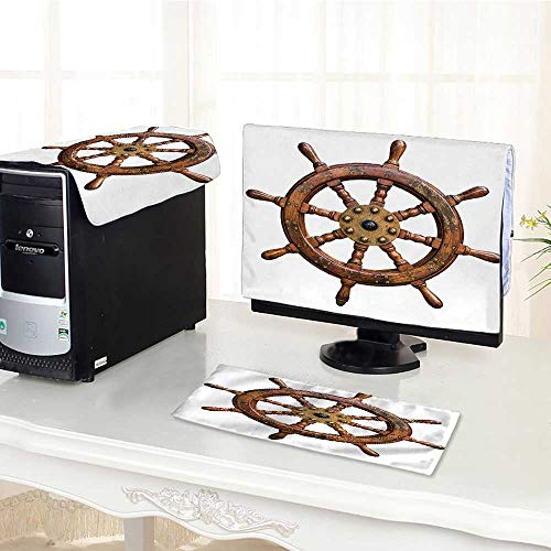 One Machine LCD Monitor Keyboard Cover Decor Collection Wooden and Brass Ship Steering Wheel Antique Aged Historic Natural Decora dust Cover 3 Pieces /19