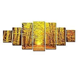 Startonight Glow in the Dark, Huge Canvas Wall Art Autumn Forest, Home Decor, Dual View Surprise Artwork Modern Framed Wall Art Set of 7 Panels Total 39.37 x 94.49 inch