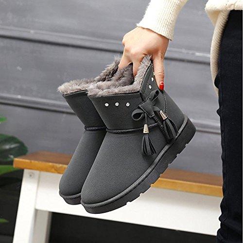 para Confort Mid Gray talón redonda de nieve botas Zapatos Casual negro puntera plana botas de Gris PU Otoño HSXZ Calf Invierno botas Mujer xUBOZwYPwq