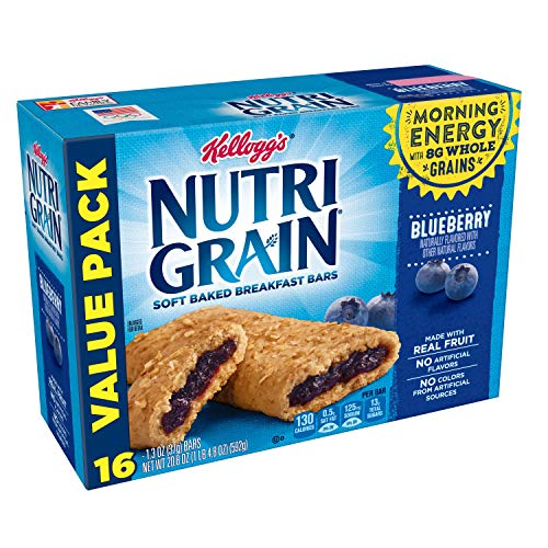 Whole Grain Baked (Kellogg's Nutri-Grain, Soft Baked Breakfast Bars, Blueberry, Made with Whole Grain, Value Pack, 20.8 oz (16 Count))