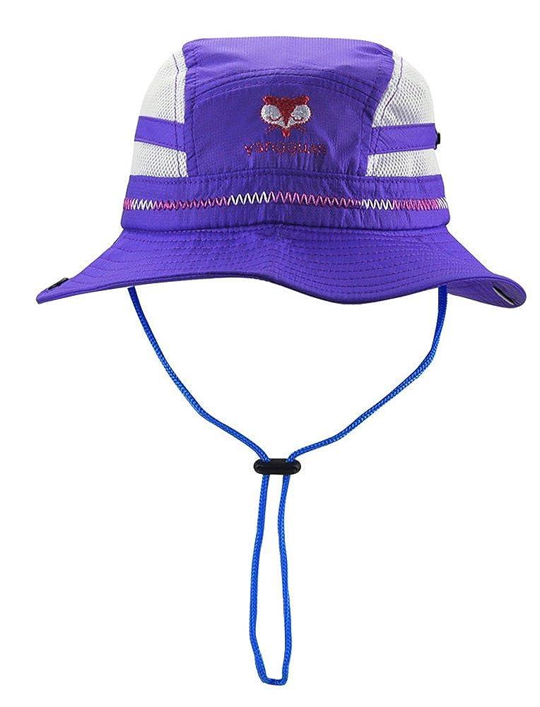 Roffatide Fox Embroidery Boys Bucket Hat Packable Fishing Sun Hat Girls Summer Cap Kids Mesh Boonie Sun Protection