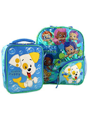 Bubble Guppies Toddler Boys Girls 14 Inch Backpack and Lunch Box School Set (Blue/Green)]()