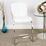 Mix Brushed Stainless Steel Faux Leather White 26-inch Seat Height Stationary Bar Stool