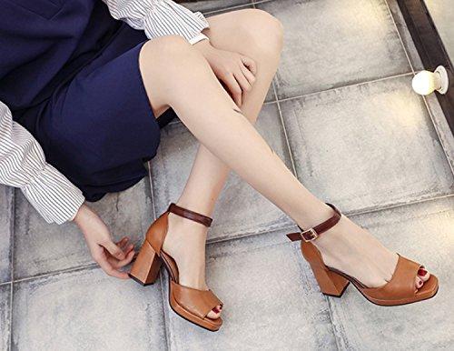 Brown Beige alto Nero Donna Sandali Sandali Marrone con Open donna Shoes tacco Color da Brown 35 Toe 39 Huaishu AUqRSwHw