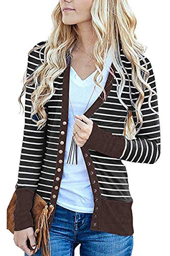 FAFOFA Stripe Outwear for Women V Neck Snap Button Down Long Sleeve Open Front Cable Knit Cardigans Coffee S