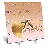 3dRose PS Inspiration - Image of Gold Pink Love Heart - 6x6 Desk Clock (dc_280738_1)