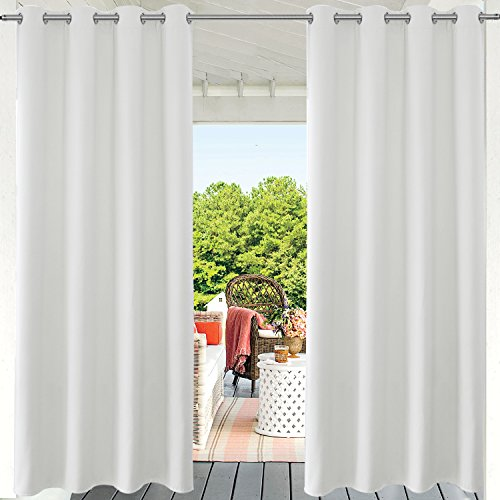 PRAVIVE Privacy Porch Outdoor Curtains - Outdoor Deck Décor Grommet Thermal Insulated Blackout Patio Sun Shade/Blind/Drappery for Pergolas and Gazebos, 52