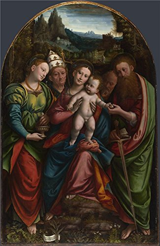 'Bernardino Lanino The Madonna And Child With Saints ' Oil Painting, 18 X 28 Inch / 46 X 70 Cm ,printed On High Quality Polyster Canvas ,this Beautiful Art Decorative Canvas Prints Is Perfectly Suitalbe For Laundry Room Decoration And Home Artwork And Gifts